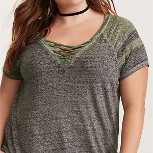 Lace Up Neck Football Tee